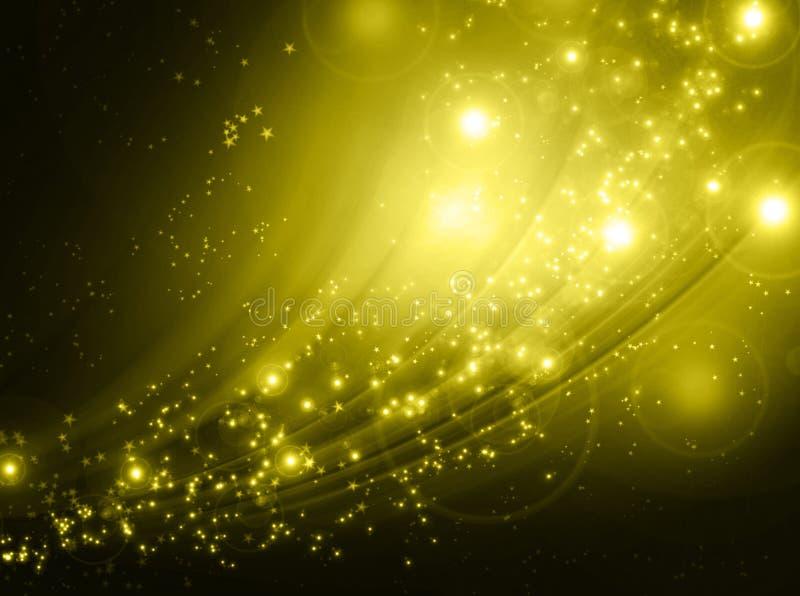 下降金黄星形的背景 免版税库存图片