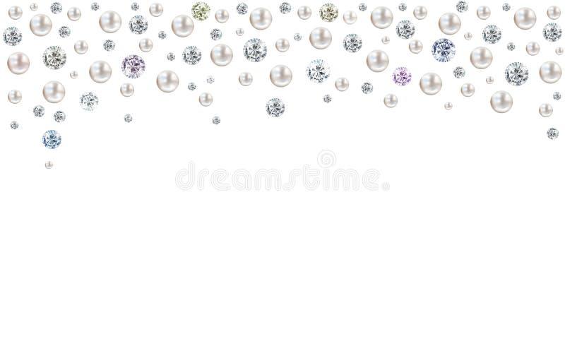 下雨从在白色背景的上面的金刚石和珍珠 皇族释放例证