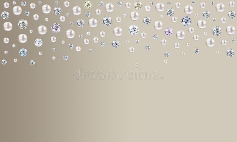 下雨从在苍白灰褐色褐色缎b的上面的金刚石和珍珠 库存例证