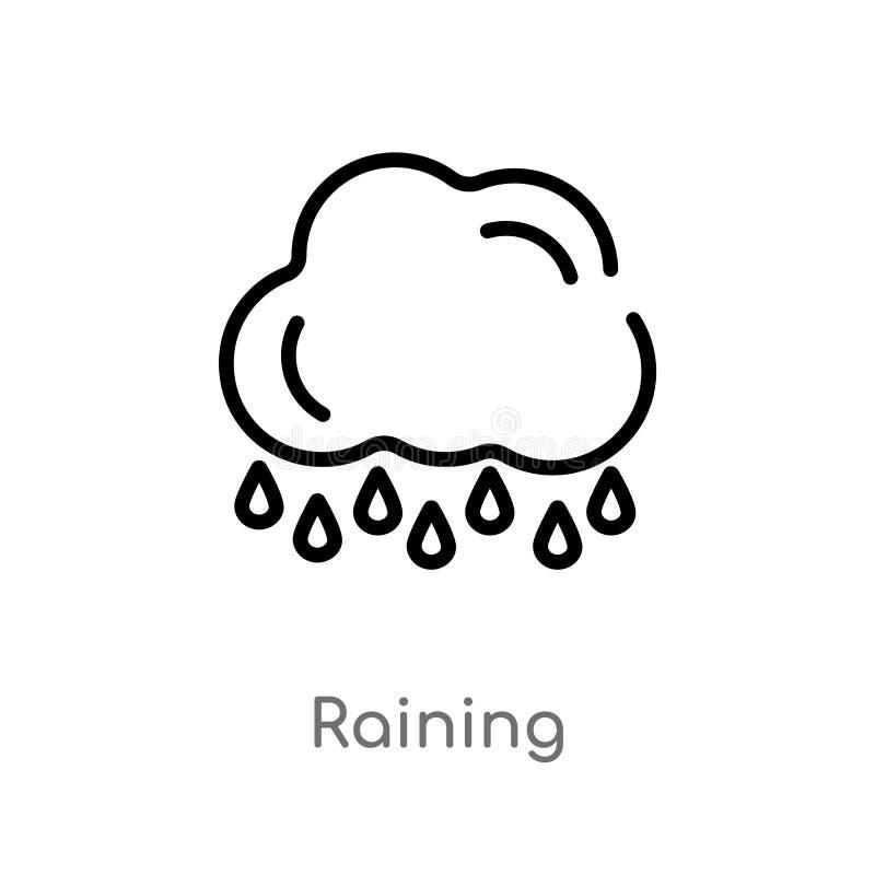 下雨传染媒介象的概述 被隔绝的黑简单的从生态概念的线元例证 编辑可能传染媒介冲程下雨 皇族释放例证