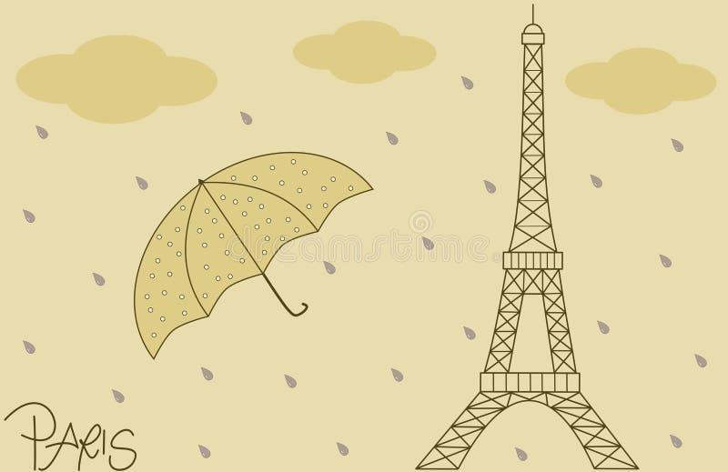 下雨在埃佛尔铁塔葡萄酒减速火箭的背景例证 皇族释放例证