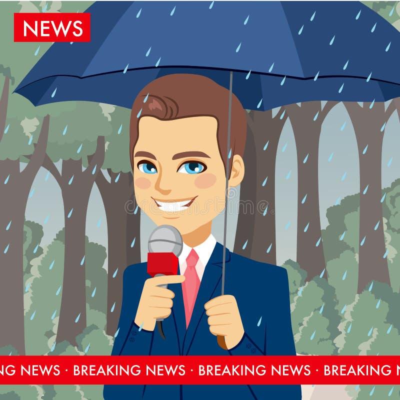 下雨天气新闻记者 向量例证