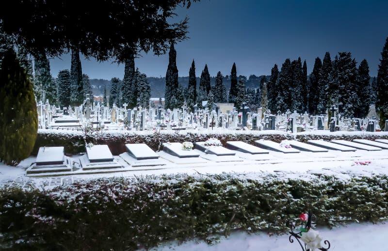 下雪在公墓圣何塞 布尔戈斯 免版税库存图片