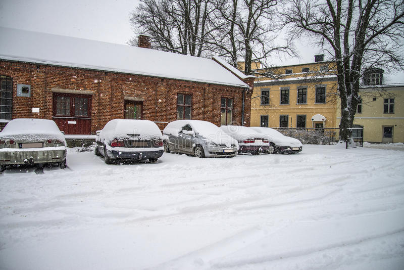 下雪halden城市 库存图片