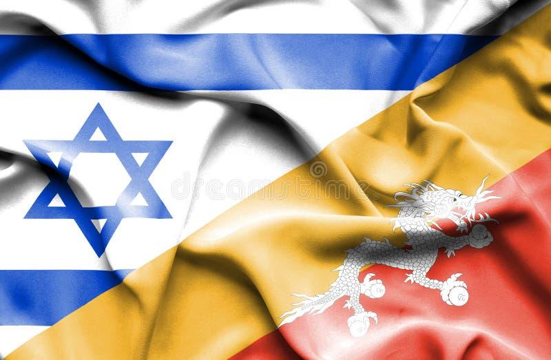 不丹和以色列的挥动的旗子 库存例证