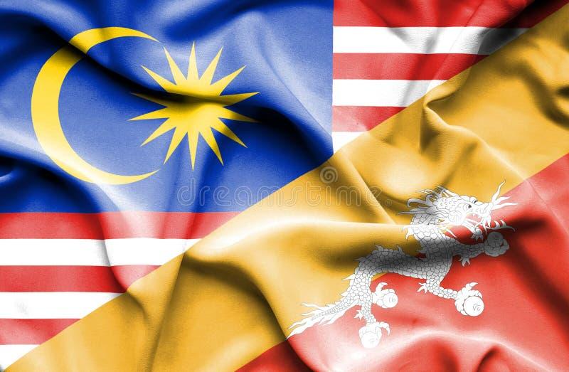 不丹和马来西亚的挥动的旗子 向量例证
