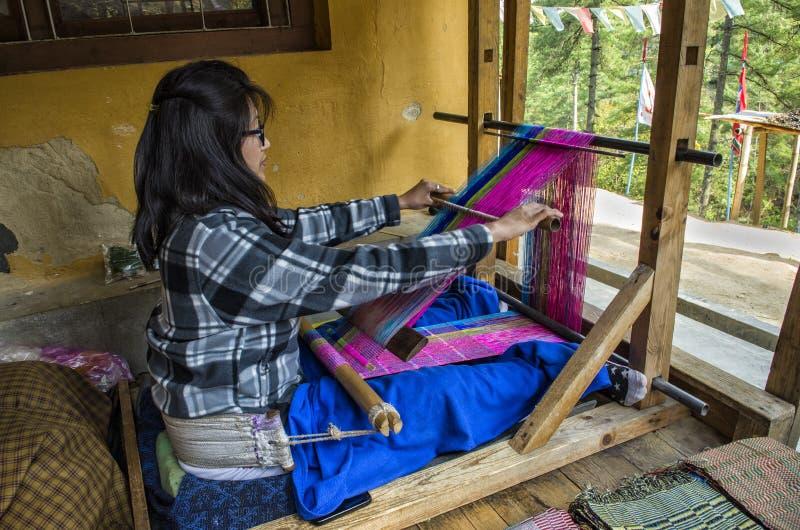 不丹布料织机 库存照片