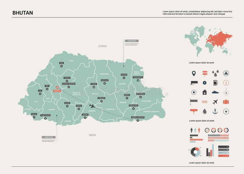 不丹的传染媒介地图 与分裂、城市和首都廷布的高详细的国家地图 政治地图,世界地图,infographic 库存例证