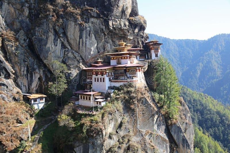 不丹` s引起轰动的老虎` s巢修道院 图库摄影