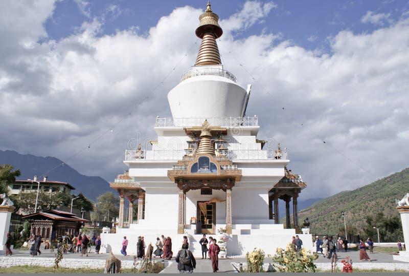 不丹chorten纪念国家廷布 免版税图库摄影