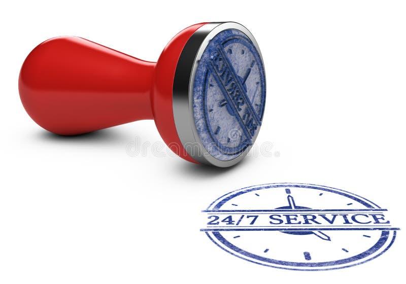 不停的服务, 24个小时和每星期七天 皇族释放例证