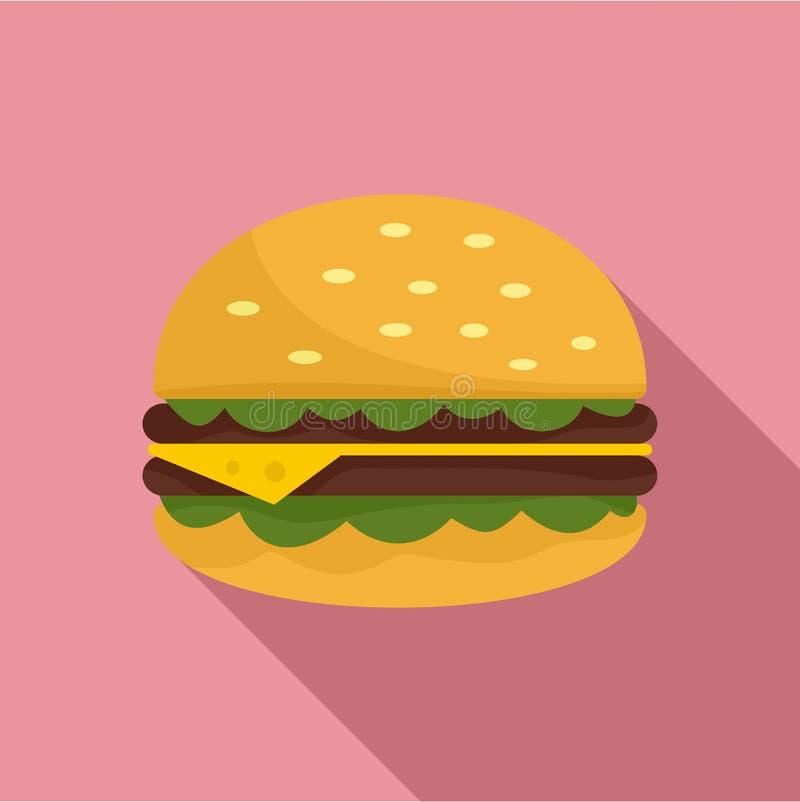 不健康的汉堡象,平的样式 向量例证