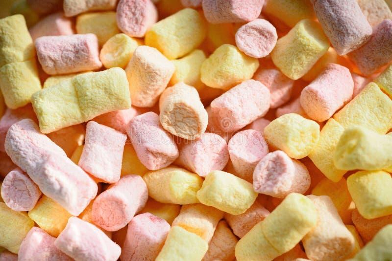 不健康的速食 五颜六色的微型蛋白软糖背景或纹理 与甜味道的蛋白软糖蛋白牛奶酥 蛋白软糖 免版税库存照片