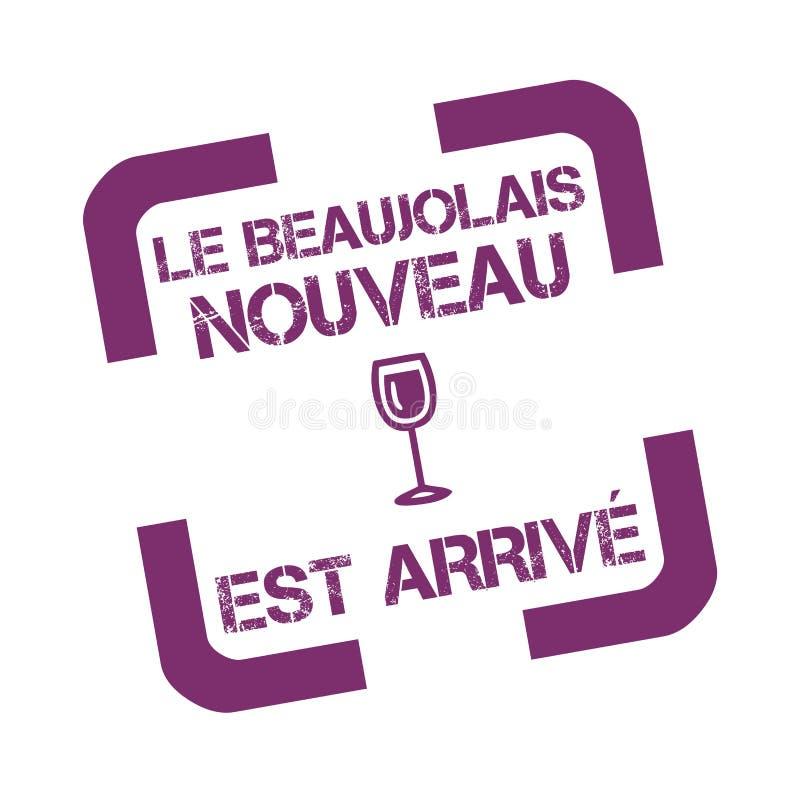 不加考虑表赞同的人用文本新的博若莱红葡萄酒酒用法语 向量例证