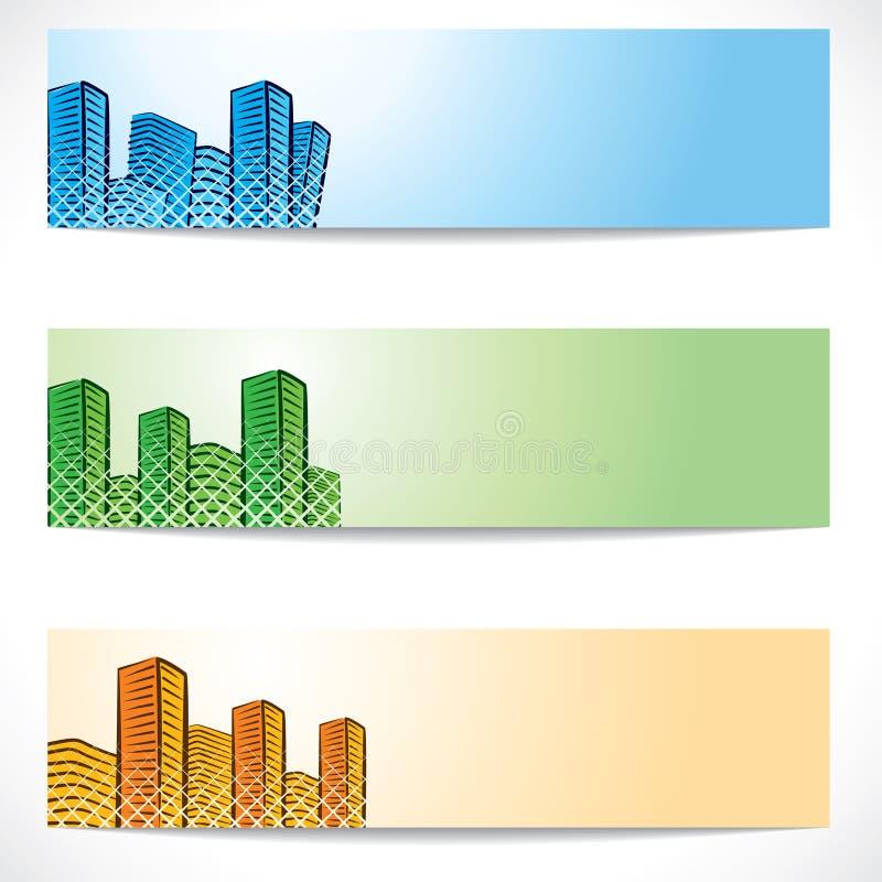 不动产和大厦网站标头 向量例证