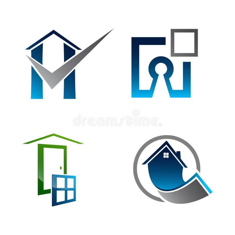 不动产商标集合 大厦和建筑汇集商标设计 皇族释放例证