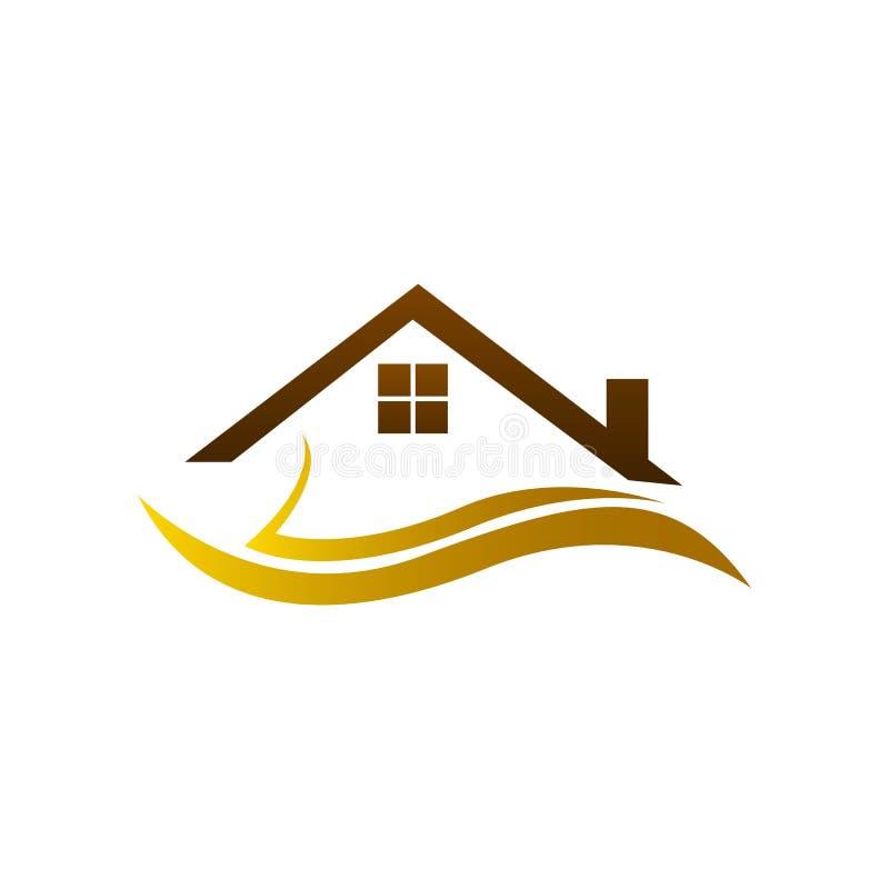 不动产商标,家庭商标,房子商标,简单设计,传染媒介象 向量例证