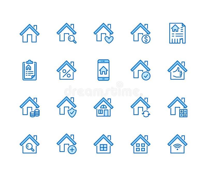 不动产平的线象集合 议院销售,家庭保险,抵押计算器,公寓查寻应用程序,大厦 库存例证