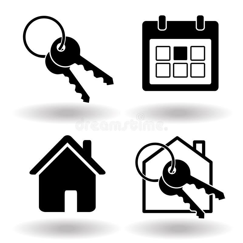 不动产或房子出租售票坚实浅黑象集合 钥匙圈和房子和日历组织者 r 库存例证