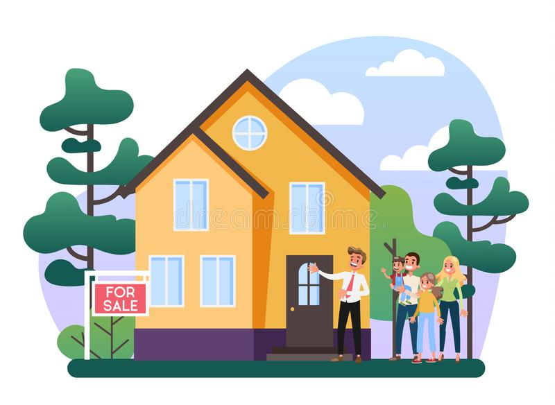 不动产房地产经纪商概念 议院销售提供 库存例证