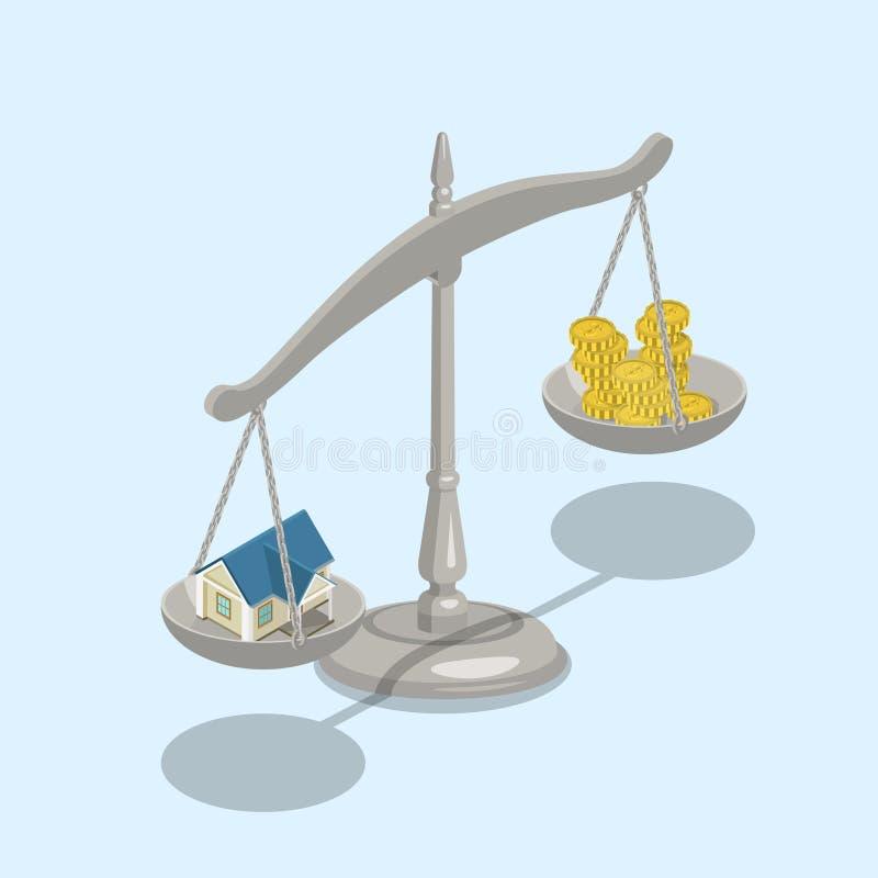 不动产抵押房子标度金钱平的3d等量传染媒介 向量例证
