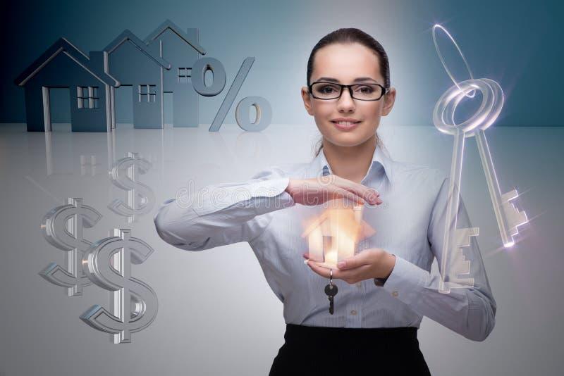 不动产抵押概念的女实业家 免版税库存图片