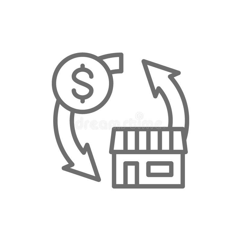 不动产销售,房子线的象交换金钱 库存例证