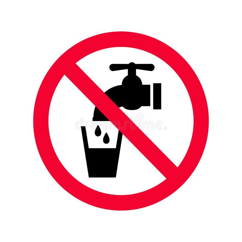 不可喝的水标志 红色禁止非饮用水标志 皇族释放例证