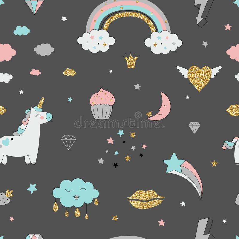 不可思议的与独角兽的设计无缝的样式,彩虹,心脏,云彩 向量例证