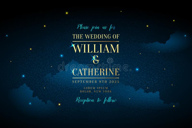 不可思议的与闪耀的夜深蓝天空担任主角传染媒介婚礼邀请 仙女座星系 金子闪烁粉末飞溅背景 向量例证