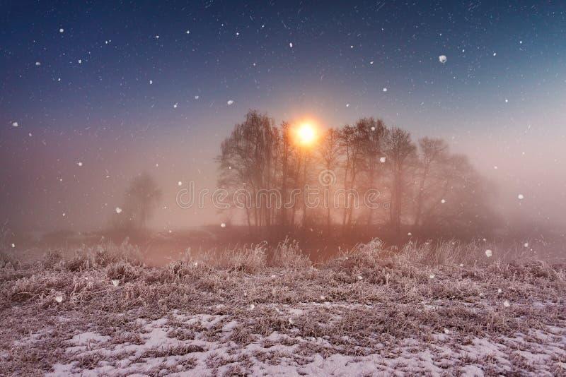 不可思议的冬天圣诞夜 在河的降雪场面 免版税库存图片