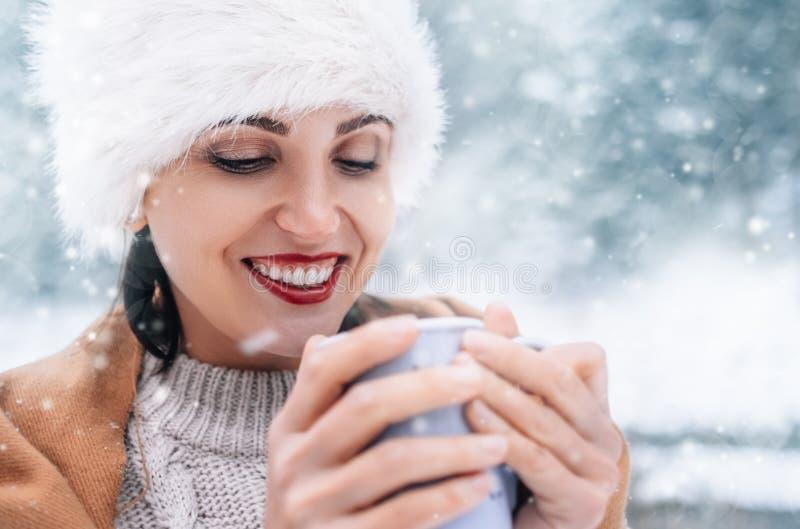 不可思议的冬天片刻-与杯子的妇女画象在sno的热的茶 免版税库存照片