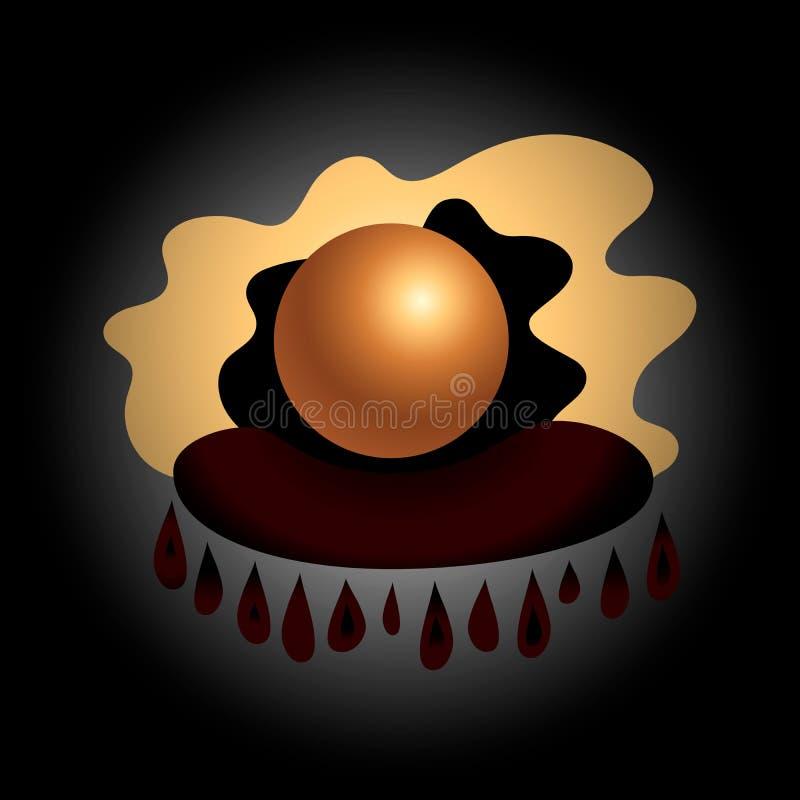 不可思议的占卜算命水晶球在枕头线传染媒介例证的 皇族释放例证