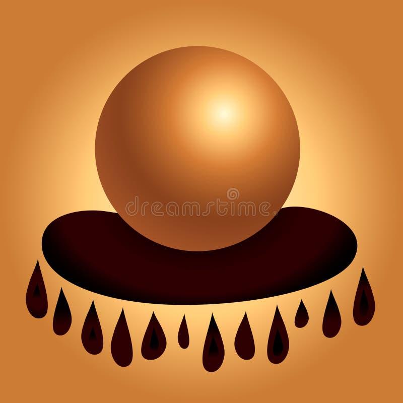 不可思议的占卜算命水晶球在枕头线传染媒介例证的 向量例证