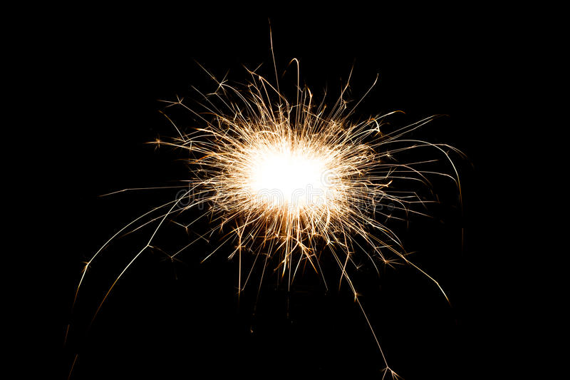 不可思议的发光的流程引起烟花 免版税库存图片