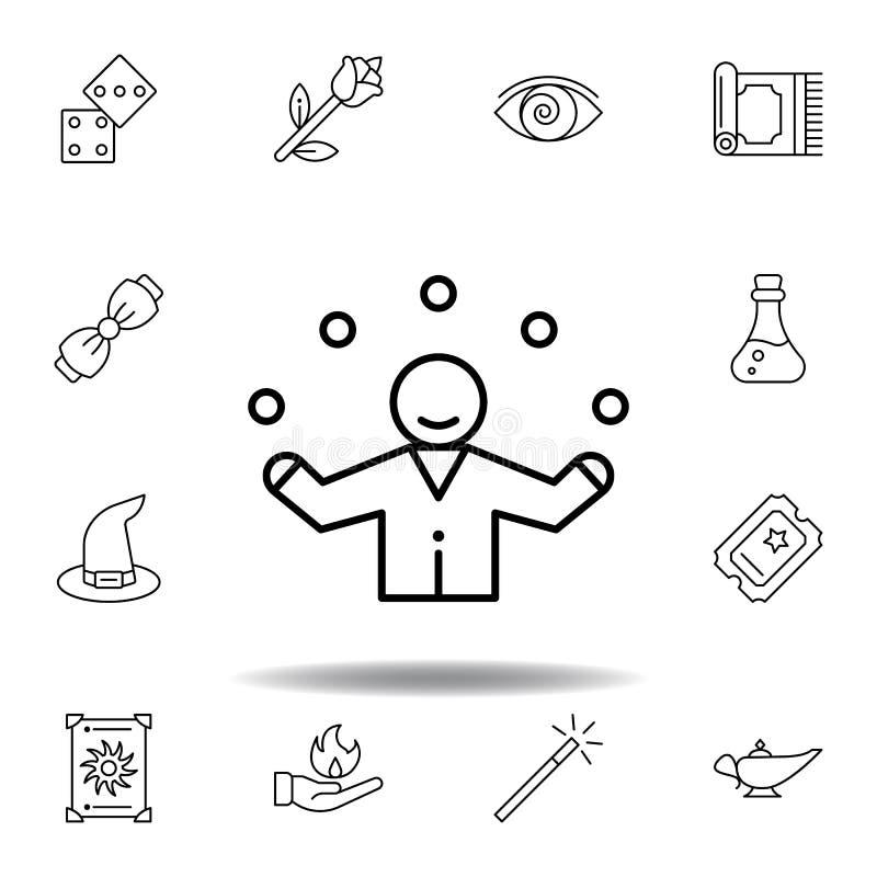 不可思议的变戏法者概述象 不可思议的例证线象的元素 标志,标志可以为网,商标,流动应用程序,UI,UX使用 库存例证