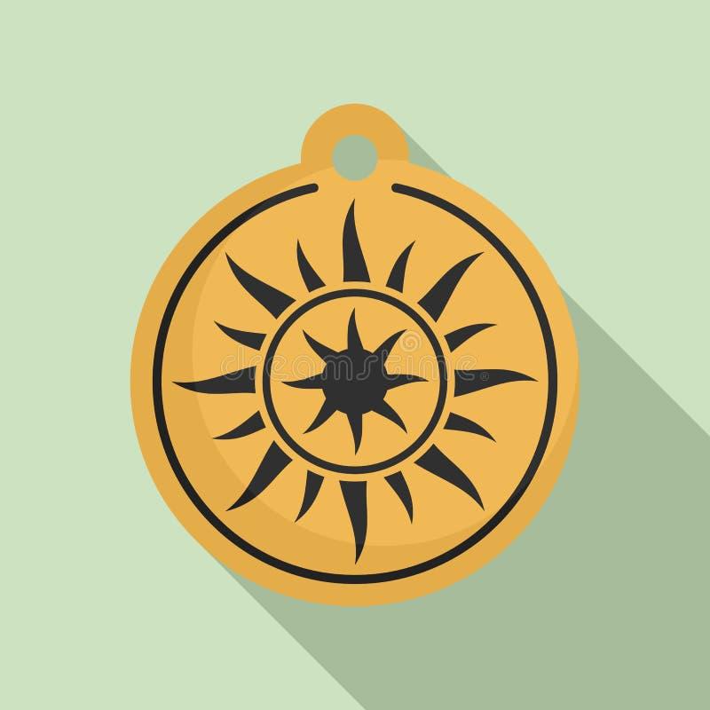 不可思议的太阳大奖章象,平的样式 向量例证