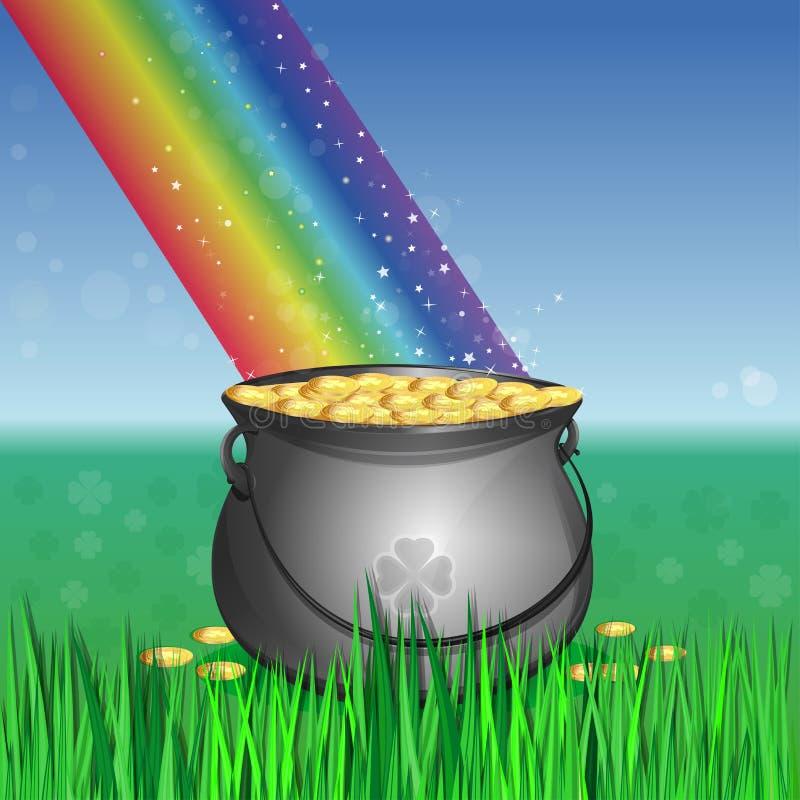 不可思议的妖精金壶在彩虹的基地的 皇族释放例证