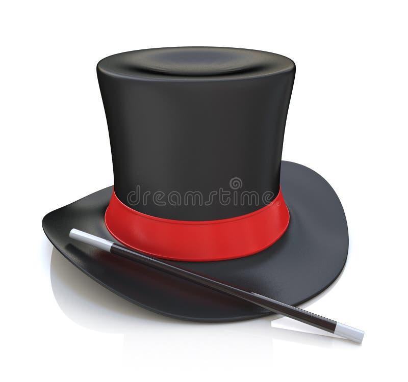 不可思议的帽子和鞭子, 3D在白色背景回报被隔绝 库存例证
