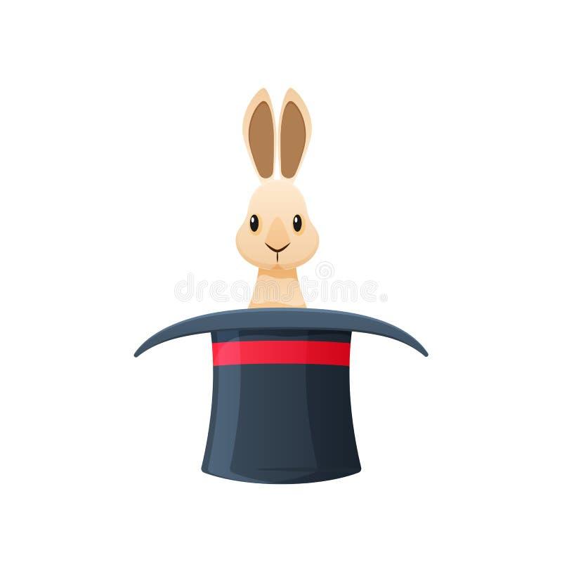 不可思议的帽子用里面兔子 辅助部件是魔术师,魔术师 向量例证