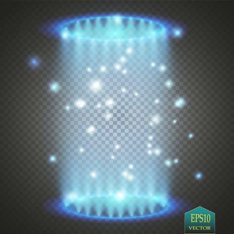 不可思议的幻想门户 未来派远距传物 光线影响 蓝色蜡烛夜场面的光芒与火花的在透明 向量例证