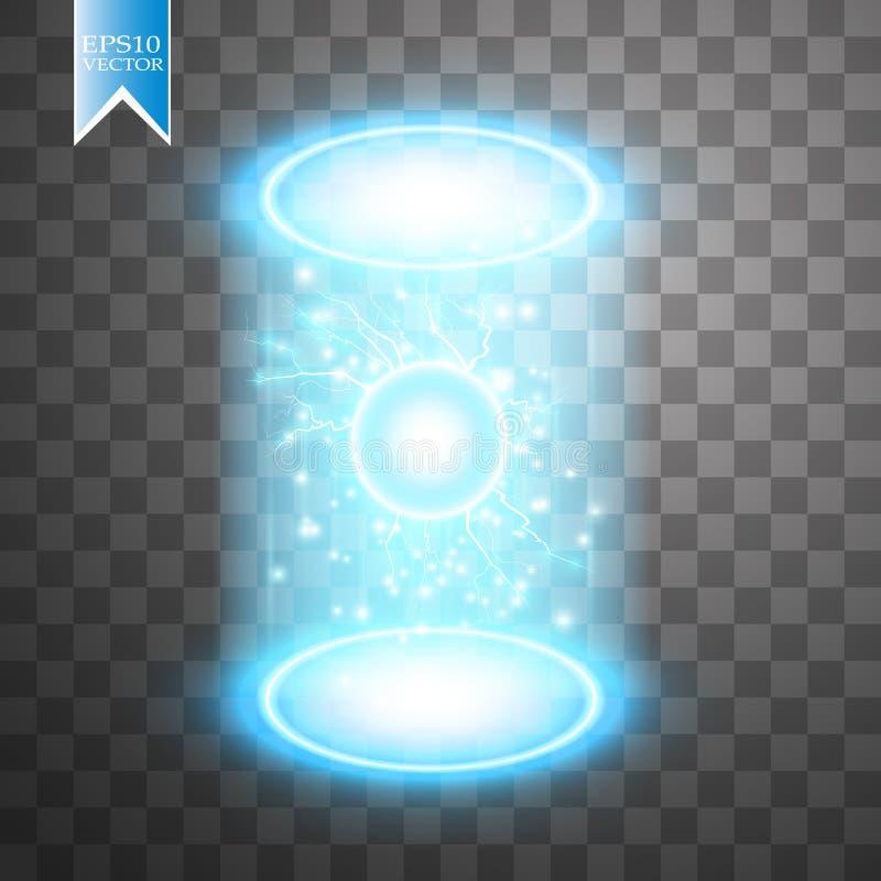 不可思议的幻想门户 未来派远距传物 光线影响 蓝色蜡烛夜场面的光芒与火花的在透明 库存例证