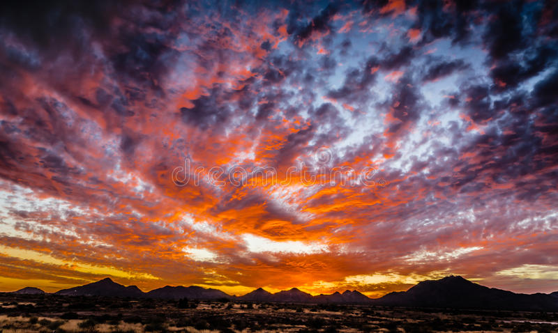 不可思议的日落-亚利桑那沙漠 库存图片