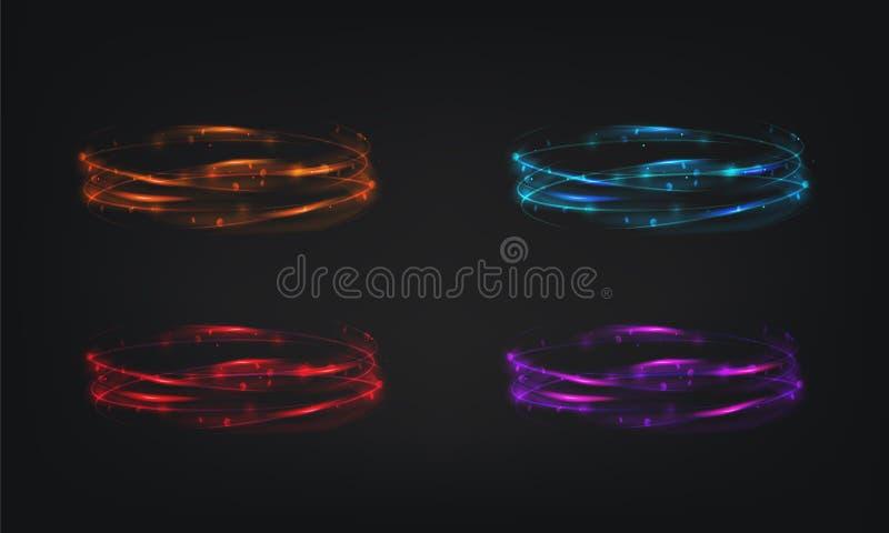 不可思议的明亮的轻的圆环导航背景焕发抽象发光的作用亮光例证设计 库存例证