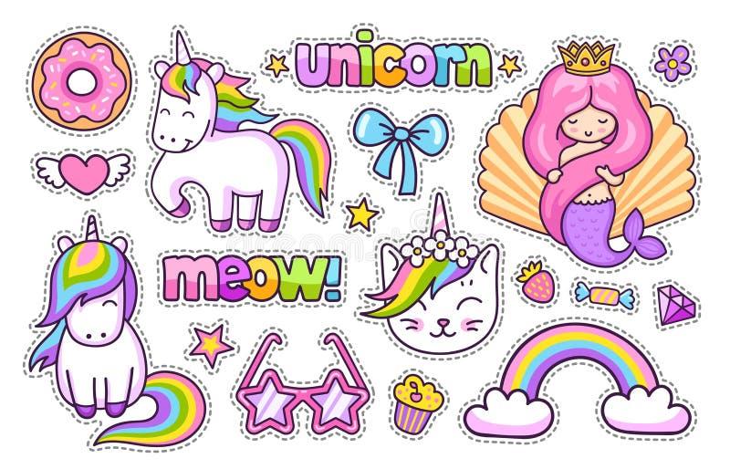 不可思议的独角兽,猫,逗人喜爱的美人鱼,彩虹,多福饼 设置动画片贴纸,补丁,徽章,别针,孩子的印刷品 向量例证