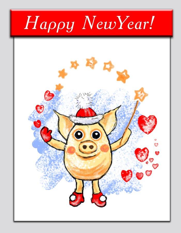 不可思议的猪圣诞老人,与不可思议的鞭子和心脏的滑稽的猪,在透明背景,假日例证,冬天,动画片分离 向量例证