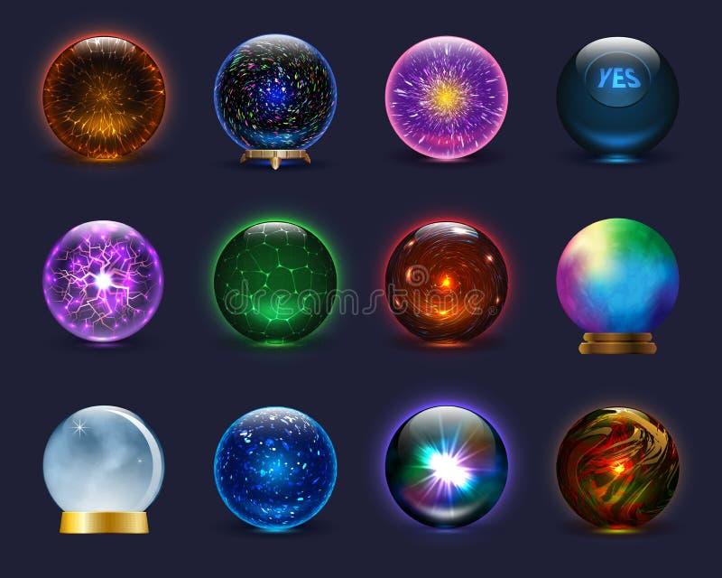 不可思议的球传染媒介不可思议的水晶玻璃球形和发光的闪电透明天体作为预言占卜者例证 向量例证