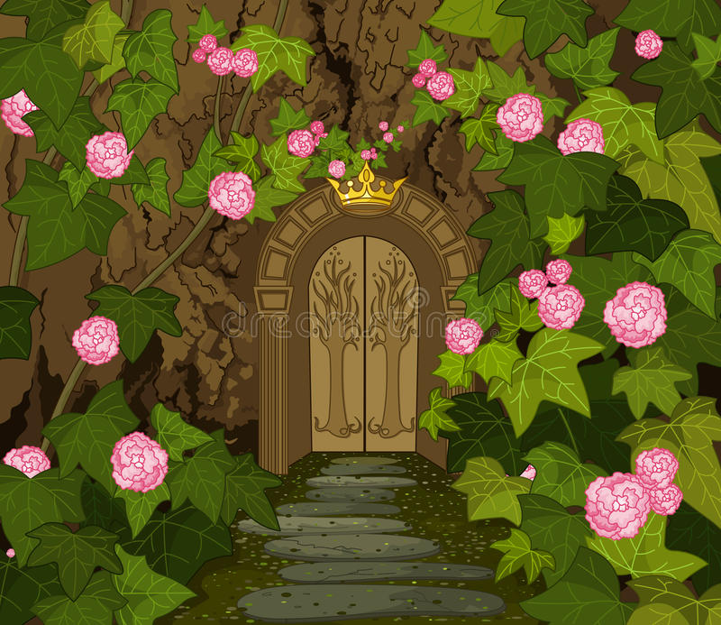 不可思议的矮子城堡门  皇族释放例证