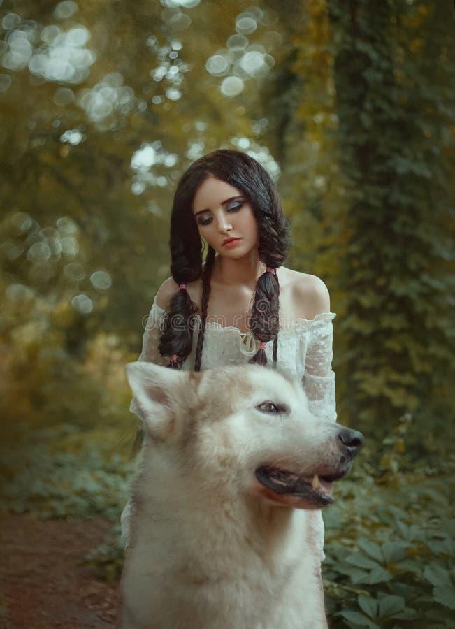 不可思议的神仙备鞍森林骄傲的狼并且乘坐他,掠食性动物把矮子公主到她的穴,见面带新 免版税库存照片