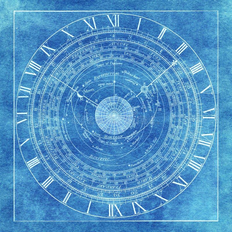 不可思议的神秘的occlut神秘的占星术图背景 皇族释放例证